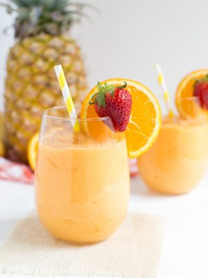 Tropical Slushie is a fun and flavorful frozen cocktail made from a few simple ingredients!