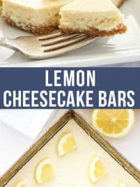 lemon cheesecake on a plate with a fork