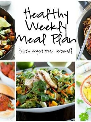 Start the week off right with a Healthy Weekly Meal Plan with Veggie Lo Mein, Chorizo Hash, Fish Taco Bowls and more!