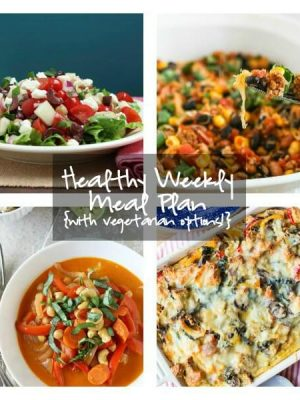 Plan for the week ahead with this healthy weekly meal plan featuring Mediterranean Chopped Salad, Mexican Casserole, Thai Red Curry and more!