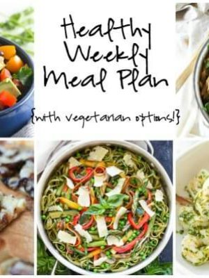 Healthy weekly meal plan featuring Pasta Primavera, Mexican Bean Salad, Italian Salsa Verde Shrimp and more!