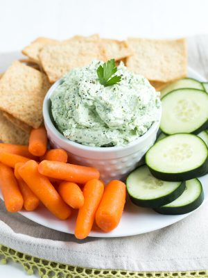 Super Green Whipped Goat Cheese - combine a few simple ingredients together in a food processor to create this flavor packed snack, dip or spread!