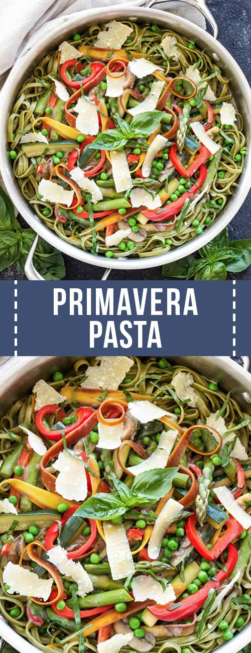 Large skillet of primavera pasta
