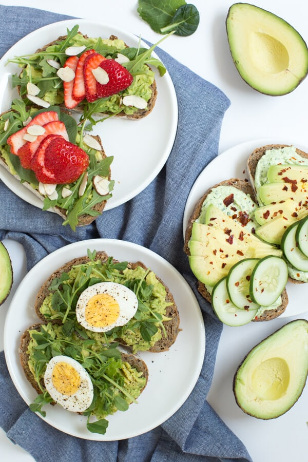 Avocado Toast Three Ways including Strawberry Balsamic Avocado Toast, Smashed Avocado Toast with Egg and Sweet Pea, and Whipped Goat Cheese and Cucumber Avocado Toast!
