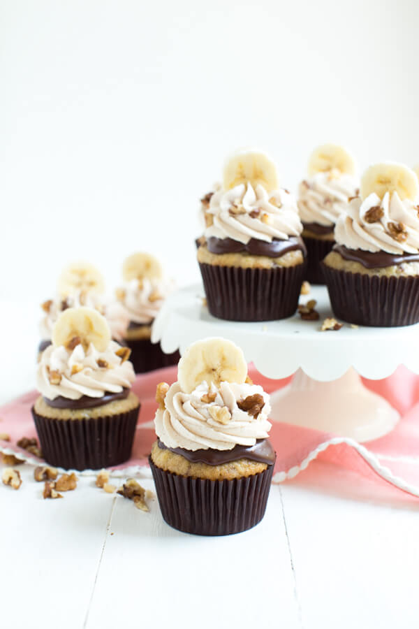 Chocolate Banana Nut Cupcakes are made with a banana nut cake, chocolate ganache and topped with vanilla cinnamon frosting!