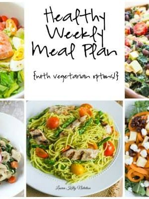 Healthy Weekly Meal Plan featuring Chicken and Spaghetti with Creamy Avocado Sauce, Southwestern Chicken Kale Salad and more!