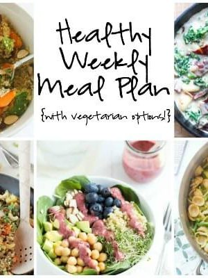 Plan for the week ahead with a healthy weekly meal plan featuring 30-minute pasta primavera, spring superfood salad, pineapple cashew quinoa fried rice and more!