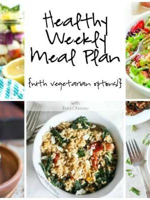 A healthy weekly meal plan with smoky beet and quinoa veggie burgers, strawberry panzanella salad, Cajun quinoa with sausage and kale and more!