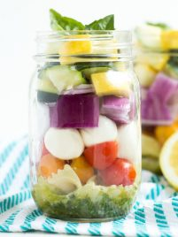 Lemon Basil Vegetable Pasta Salad in a Jar – five layers of flavors combine with a fresh lemon basil dressing to create this easy pasta salad!