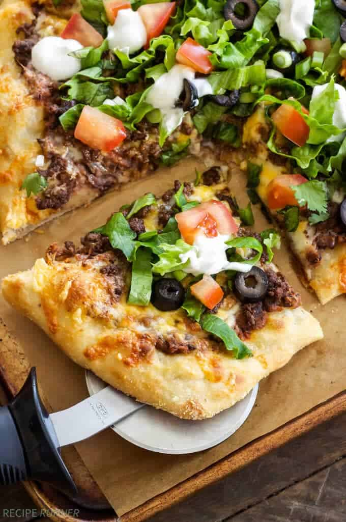 Taco Pizza | The perfect mash-up for nights when you can't decide between tacos or pizza!
