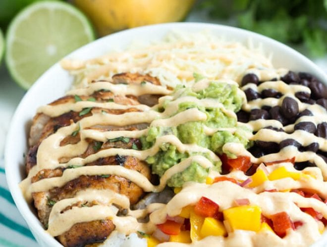 Chipotle Lime Chicken Taco Bowls with Mango Chipotle Sauce are packed with the freshest flavors!