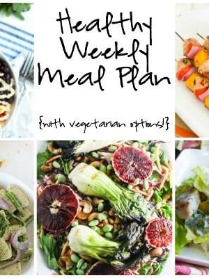 A healthy weekly meal plan featuring fresh summer flavors with spring green pesto pasta, chipotle lime chicken taco bowl, balsamic honey chicken peach skewers and more!