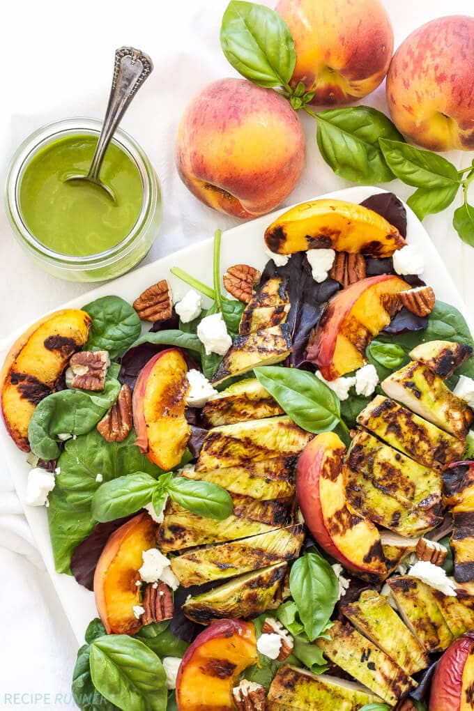 Grilled Chicken, Peach, Pecan and Goat Cheese Salad with Basil Vinaigrette