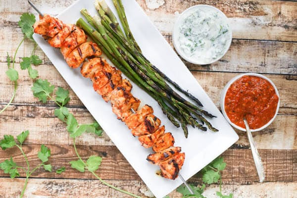 Healthy Weekly Meal Plan with Healthy Chicken Salad, Harissa Chicken Skewers and More!