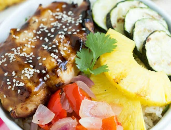Grilled Teriyaki Chicken Bowls are a delectable mix of teriyaki chicken, cilantro rice, grilled vegetables and pineapple!