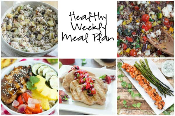Healthy Weekly Meal Plan with Healthy Chicken Salad, Grilled Teriyaki Chicken Bowls and More!
