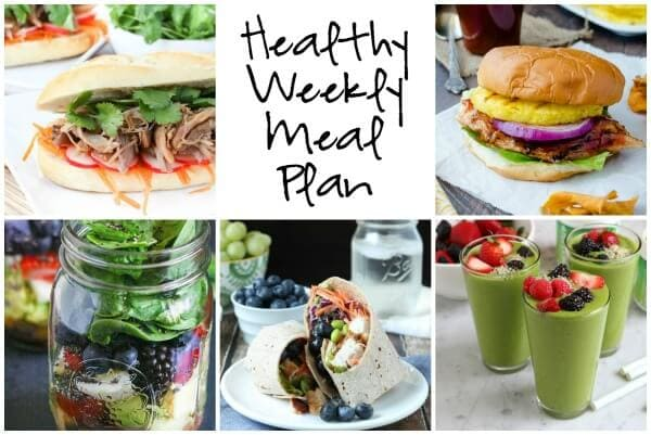 Healthy Weekly Meal Plan with Thai Chicken Salad Wrap, Spinach Berry Smoothie, Slow Cooker Pulled Pork Bahn Mi and more!