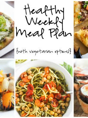 Plan for the week ahead with a healthy weekly meal plan featuring grilled chicken kabobs, taco pizza, shaved asparagus ricotta flatbread and more!