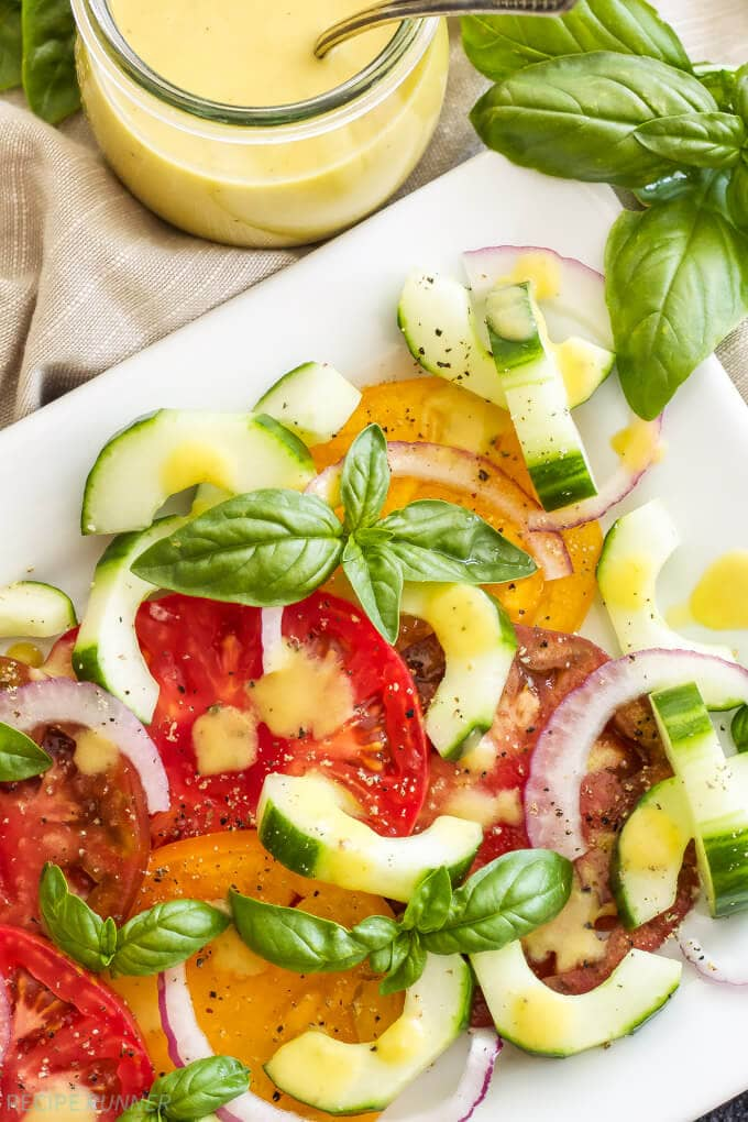Heirloom Tomato Cucumber Salad with Peach Vinaigrette