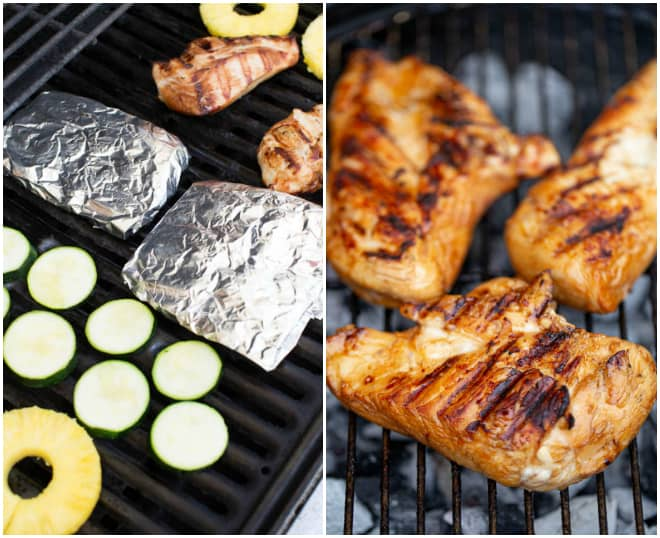 grilled chicken and slices of zucchini, pineapple and foil packets on a grill