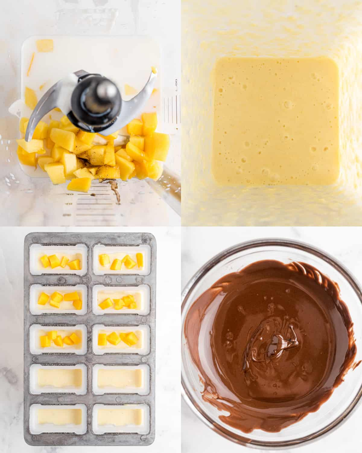processing ingredients for mango popsicles before freezing