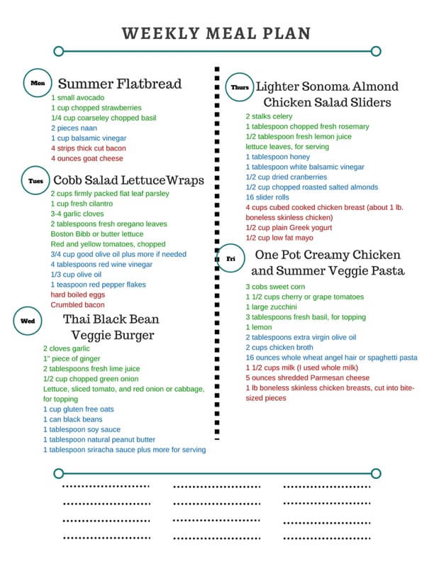 Healthy Weekly Meal Plan featuring One Pot Cream Chicken and Summer Vegetable Pasta, Chicken Salad Sliders, Cobb Salad Lettuce Wraps and more!
