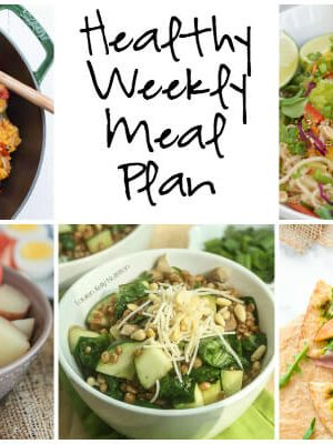 Healthy Weekly Meal Plan featuring Salmon Nicoise Salad, Grilled Flatbread with Arugula Pistachio Pesto and more! Print the printable shopping list and meal plan to plan for the week ahead.