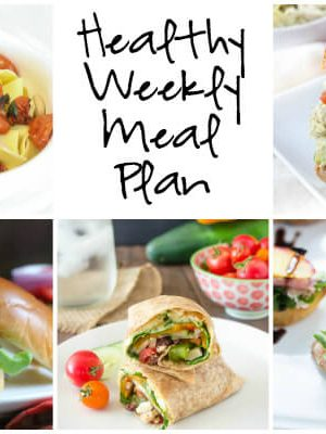 Healthy Weekly Meal Plan with Easy Roasted Tomato Garlic Pasta, Grilled Peach Crostini, Chickpea Burger and more! Print the printable shopping list and meal plan and plan for the week ahead.