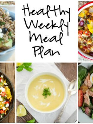 Plan for the week ahead with a healthy weekly meal plan featuring Coconut Curry Summer Squash Soup, Skillet Green Chile Chicken Chilaquiles, Baked Salmon and more!