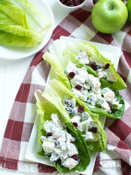 Apple Cranberry Apricot Chicken Salad Lettuce Wraps are made with fresh fall flavors, Greek yogurt and romaine heart leaves to create a healthier chicken salad that the entire family will love!