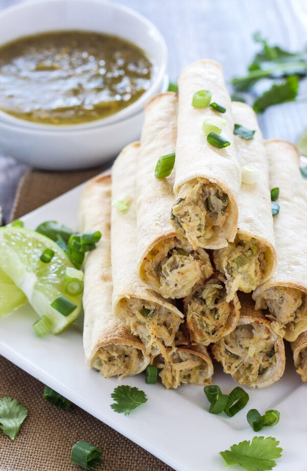 Baked Green Chile Chicken Taquitos | www.reciperunner.com