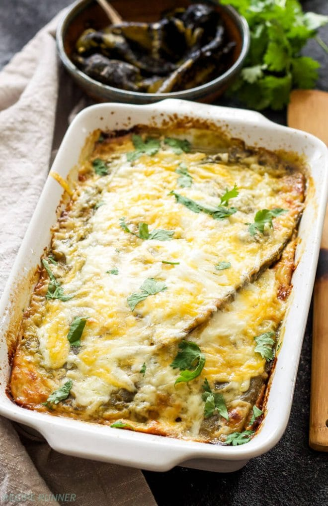chile rellenos casserole sitting on a table