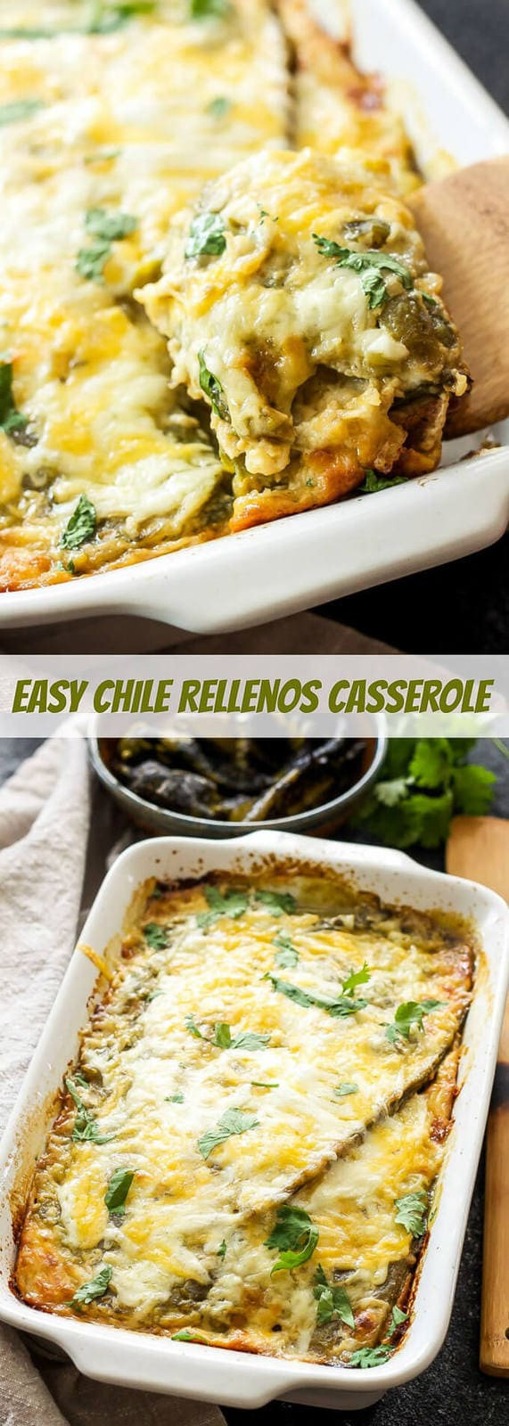 Easy Chile Rellenos Casserole | This quiche-like casserole made up of layers of green chiles and cheese is a meal even the most novice cook can put together! Perfect for dinner or breakfast!