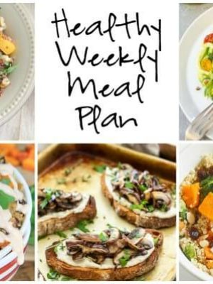 Healthy Weekly Meal Plan with Pesto Zoodles, Butternut Squash Black Bean Bowls, Lemon Rosemary White Bean Toasts and more!