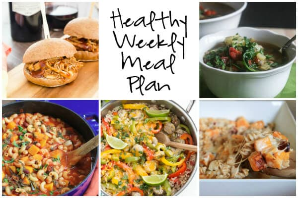 Healthy Weekly Meal Plan with Butternut Squash and Bacon Macaroni and Cheese, Skillet Fajita Chicken Sausage with Rice and more!