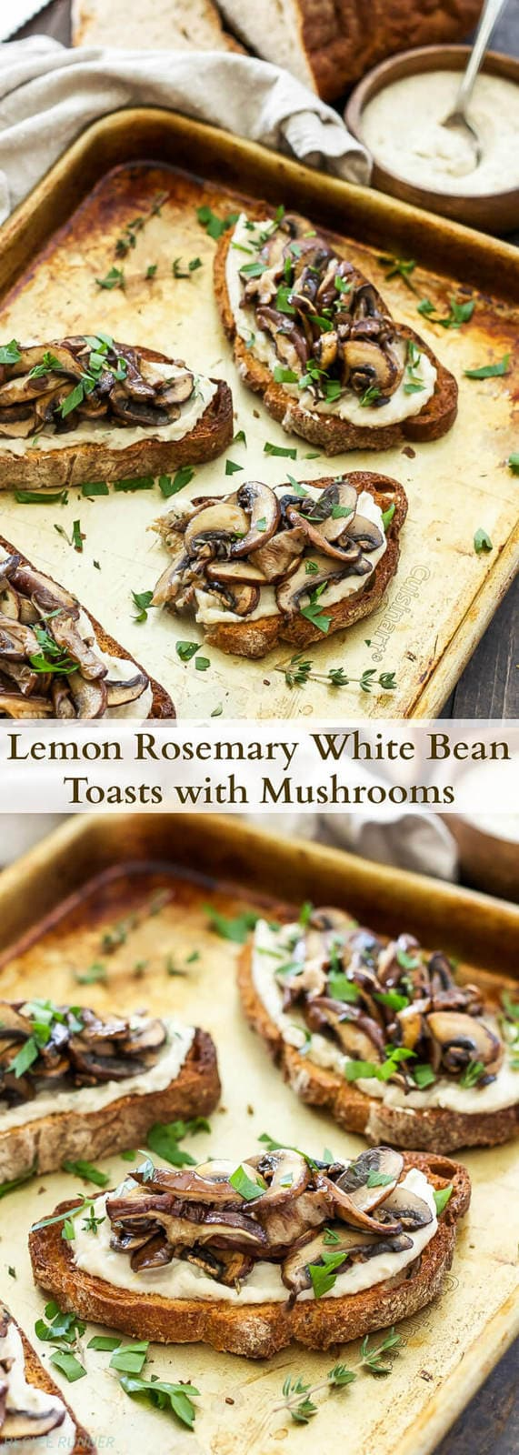 Lemon Rosemary White Bean Toasts with Mushrooms