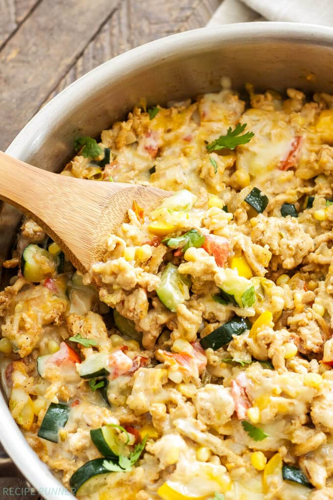 Southwest Turkey, Vegetable and Rice Skillet | www.reciperunner.com