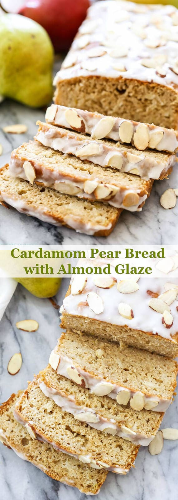 Cardamom Pear Bread with Almond Glaze is the perfect quick bread to make for brunch or a holiday breakfast! The flavors of warm, citrusy cardamom, juicy pears and a sweet almond glaze will have you grabbing a second slice! | www.reciperunner.com