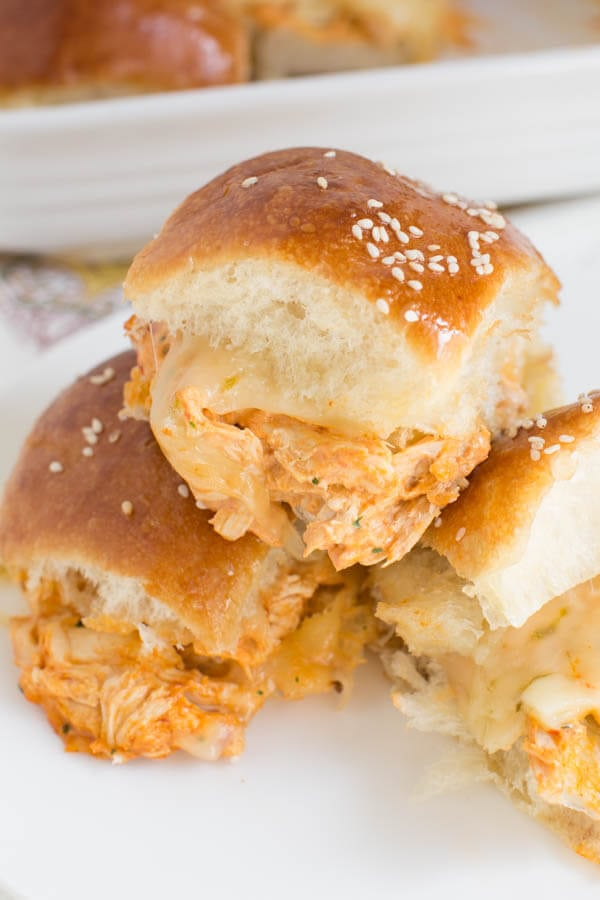 Chipotle Chicken Sliders come together in little time and are made with shredded chicken, chipotle mayo sauce and real cheese!