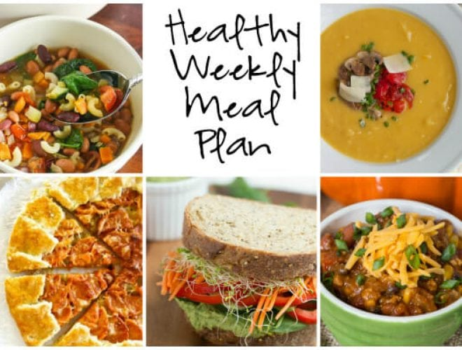 Healthy Weekly Meal Plan with Butternut Squash Galette, Chicken Black Bean Pumpkin Chili and more!