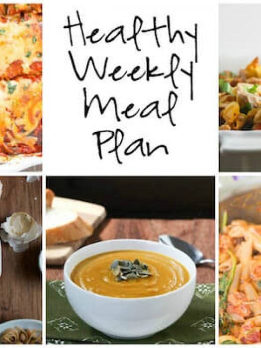 Healthy Weekly Meal Plan with Roasted Autumn Squash Soup, Creamy Sundried Tomato and Chicken Pasta, Ratatouille Lasagna and more!
