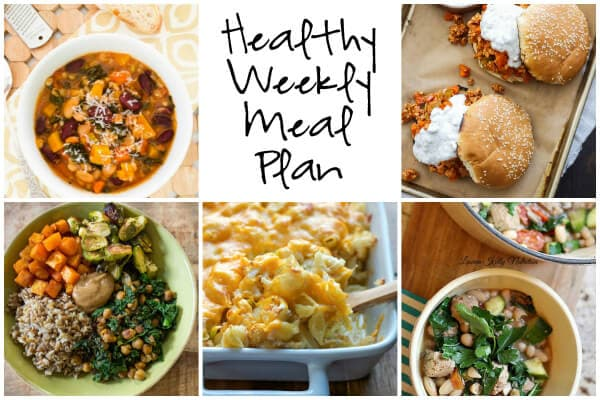 Healthy Weekly Meal Plan with Buffalo Chicken Sloppy Joes, Autumn Minestrone Soup, Spicy Cauliflower Mac and Cheese and more!