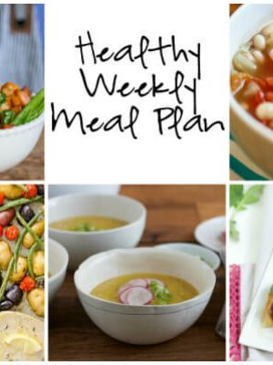 Healthy Weekly Meal Plan with Crock Pot White Bean Soup, Thai Peanut Turkey Rice Bowls, Crock Pot White Bean Soup and more!