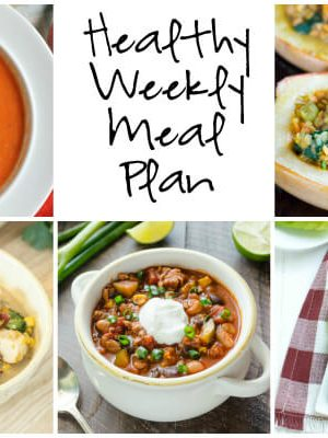 Healthy Weekly Meal Plan with Chicken Broccoli Corn Chowder, Apple Cranberry Apricot Chicken Salad Lettuce Wraps, Roasted Red Bell Pepper Soup and more!