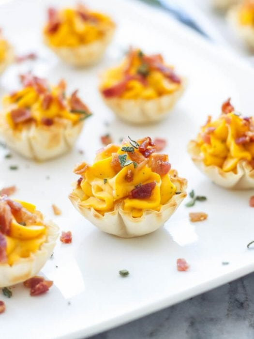 Mini Bacon Butternut Squash Cups | Creamy butternut squash and sage filling topped with crisp salty bacon, the perfect fall or holiday appetizer!