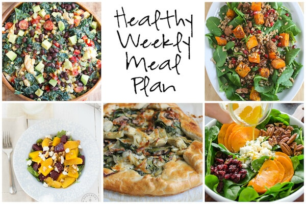 Healthy Weekly Meal Plan with Winter Kale Salad, Spinach Mushroom Artichoke Galette, Southwestern Kale Salad and more!