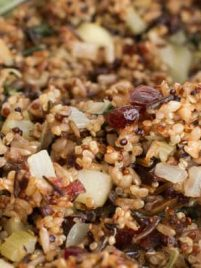 Wild Rice and Quinoa with Apple, Cranberry and Greens is an excellent gluten free alternative to stuffing.