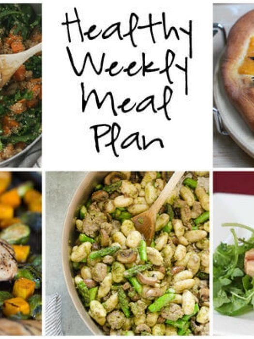 Healthy Weekly Meal Plan with Roasted Butternut Squash Pizza, One Pan Maple Balsamic Chicken and more!