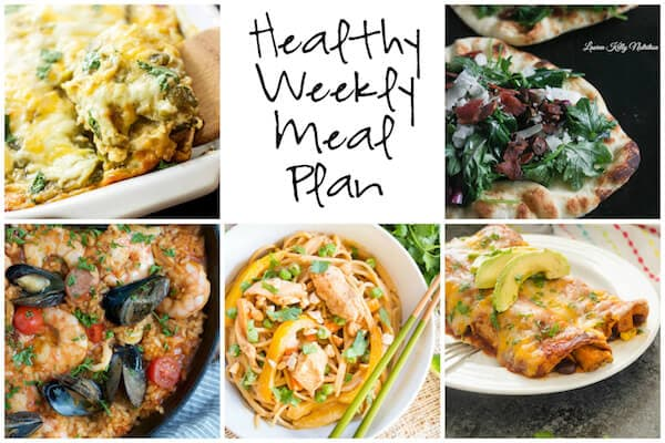 Healthy Weekly Meal Plan with Seafood Paella, Kale Bacon Manchego Pizza, Thai Peanut Chicken Noodles and more!