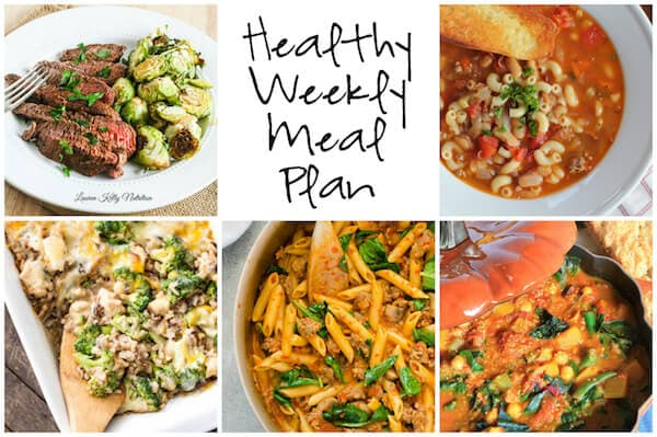 Healthy Weekly Meal Plan with Pasta e Fagioli, Ginger Teriyaki Filet, One Pot Creamy Sausage and Roasted Red Pepper Pasta and more!